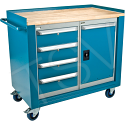"""Industrial Duty Mobile Service Benches - O.D.: 42""""W x 24""""D x 37""""H  Configuration: 1 Door & 4 Drawers"""