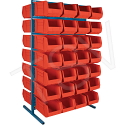 "Stationary Bin Racks - Double-Sided - Rack/Bin Combination - Colour: Red - 36""W x 24""D x 61""H"