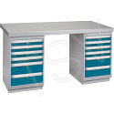 "Pre-designed Workbenches - Configuration: Dual Drawers - Height: 34"" - Width: 60"""