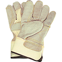 Premium Quality Double Palm Split Cowhide Fitters Glove - Size: Large - Outside double palm, index finder & finger tips - Case Quantity: 48