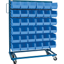 "Mobile Bin Racks - Singled Sided - Rack & Bin Combination - Colour: Blue - Dimensions: 36""W x 16""D x 52""H"