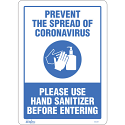 "Safety Signs - ""Prevent Coronavirus, Please Use Hand Sanitizer"" - Display Type: Adhesive - Vinyl"