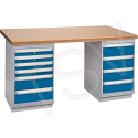 "Pre-designed Workbenches - Configuration: Dual Drawers Pedestal - Height: 34"" - Width: 60"""