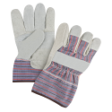 Superior Quality Split Cowhide Patch Palm Fitters Gloves, Striped Cuff- Size: Large - Case Quantity: 72