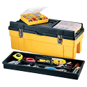 "Plastic Tool Box - Overall Depth: 10-1/2"" - Overall Height: 10"" - Overall Width: 26"" - Colour: Yrllow"
