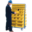 "Mobile Bin Racks - Double Sided - Rack & Bin Combination - Colour: Yellow - Dimensions: 36""W x 24""D x 63""H"