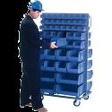 "Mobile Bin Racks - Double Sided - Rack & Bin Combination - Colour: Blue - Dimensions: 36""W x 24""D x 63""H"