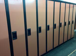 "Used Lockers - Black/Orange - Excellent Condition - 15"" x 21"" x 72"""