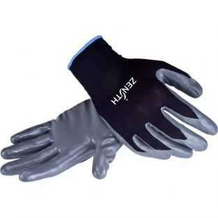 Black Nylon Nitrile Coated Gloves - Size: Medium (8) - Qty: 120