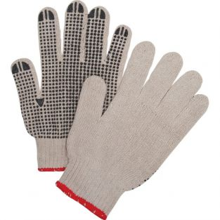 Natural Poly/Cotton Dotted Gloves - One Side Dotted, Light Weight - Size: Large - Qty: 240