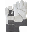 Standard Quality Split Cowhide Patch Palm Fitters Gloves, Denim Cuff - Size: Large - Case Quantity: 72
